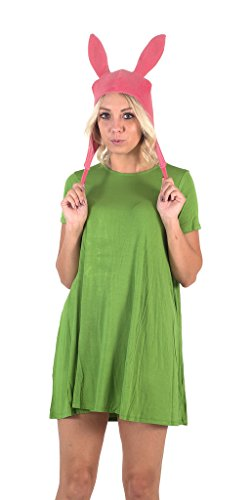 Belcher Louise Kostüm - Bob's Burgers Louise Hat with Green Dress Costume Set(Medium)
