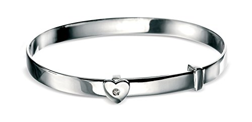 D for diamond Diamond Set Sterling Silver Heart Design Baby Bangle for Girl