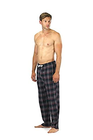 CARGO BAY Mens 100% Cotton Flannel Lounge Pants PJ Pyjama Bottoms Soft Comfy (Burgundy, Small)
