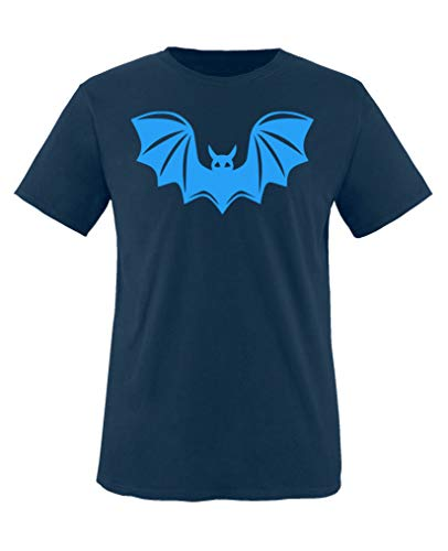 Comedy Shirts - Halloween Fledermaus - Jungen T-Shirt - Navy/Blau Gr. 110-116