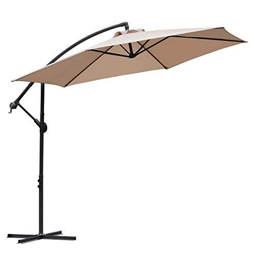 Sekey® Ampelschirm 300 cm Sonnenschirm Gartenschirm Kurbelschirm Beige/Taupe mit Kurbelvorrichtung Sonnenschutz UV50+ - Patio-möbel Braun