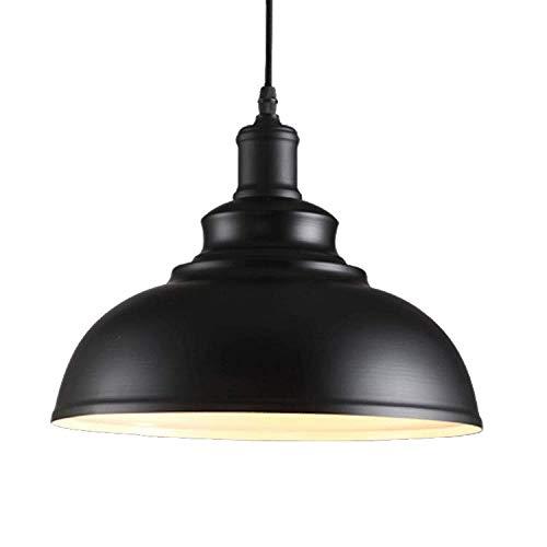 Rétro Suspensions Luminaires-Plafonnier Lustre Abat-jour Ø29cm-Industrielle Métal Lampe de Plafond éclairage Intérieur (Noir)