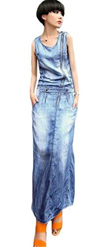 Frauen des eleganten Rundhalsausschnitt Ärmel Zipper Split aus gewaschenem Denim Lange Derss Blau