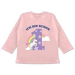 Geburtstag Baby - Ich Bin Schon 1 Einhorn - 12/18 Monate - Babyrosa - BZ11 - Baby T-Shirt Langarm