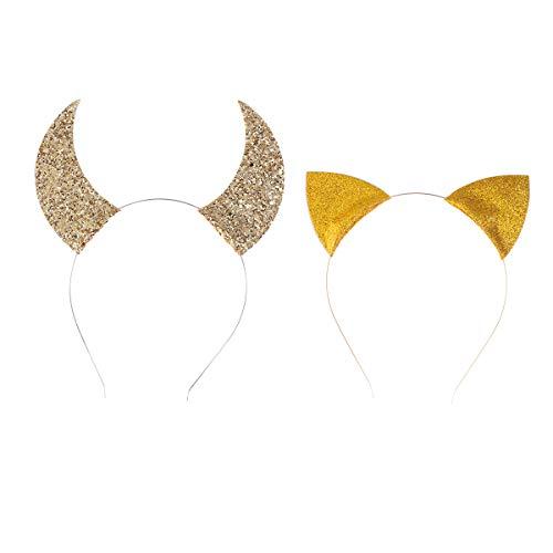 Amosfun 2 stücke Katzenohren und Horn Stirnband Glänzende Pailletten Tierohren Stirnband Haarschmuck für Halloween Kinder Mädchen (Goldene)