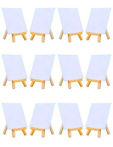 ini-Leinwand, kombiniert mit 7 x 12 cm kleinen Holz-Staffeleiel-Set zum Malen, Basteln, Zeichnen, Dekorieren, Geschenk, 12 Stück ()