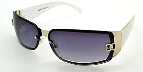 VOX Trendy Classic High Quality Womens Hot Fashion Sunglasses w/FREE Microfiber Pouch - White Frame - Smoke