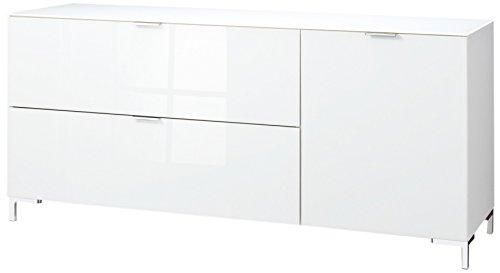 CS Schmalmöbel 45.012.505/018 TV-Board Cleo Typ 14, 163 x 50 x 73 cm, weiß / weißglas