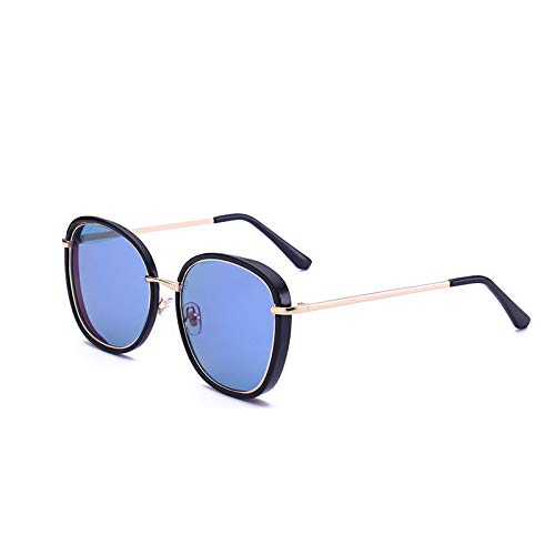 SUNGLASSES Star Sonnenbrille Lesbian Sonnenbrille Persönlichkeit runden Gesicht polarisierte Sonnenbrille Flut (Farbe : Bright Black Ice Blue)