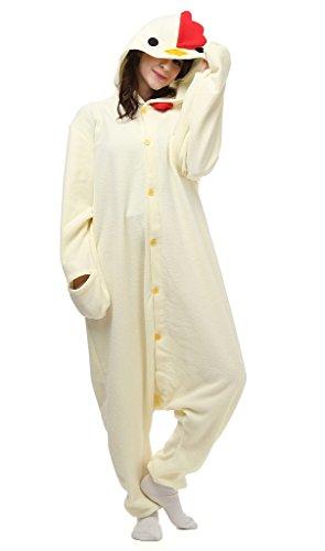 Auspicious beginning Unisex-Adult-Weiß-Huhn Kostüm Tier Schlafanzüge Pyjama Freizeitkleidung Lounge