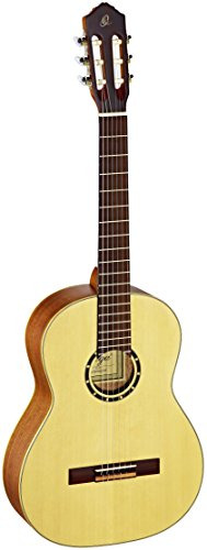 Ortega R121SN Konzertgitarre in 4/4 Größe mit Slim Neck natur im seidenmatten Finish mit hochwertigem Gigbag
