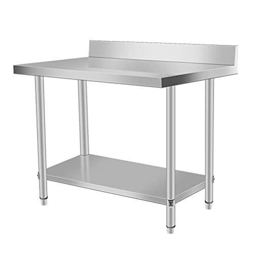 Doppelt Edelstahl Arbeitstisch Profi Küchentisch Gastro mit Backsplash und extra großer unteren Ablagefläche, Tisch bis 100 kg belastbar (100x60x95 CM)