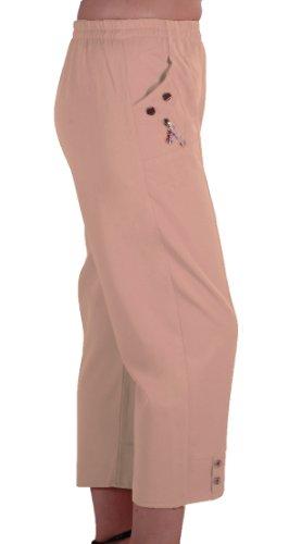 EyeCatch - Frauen Capri Crop Pants Stretch Flexi Plus Sizes Damen 3/4 Hose Stone Size 48 Crop Capri