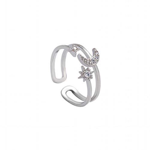 Katylen S925 Plata de Ley Estrellas Anillo de Color Luna Diseño de Apertura Exquisito Diamante Luna Sol Solo Anillo Anillo de Bodas Femenino, Opening
