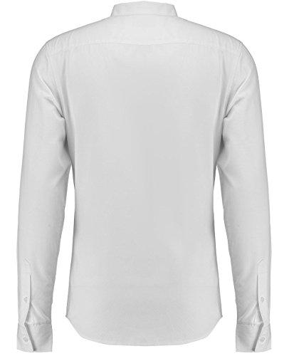 Retro Fire Hommes Chemise Habillée Manche Longue Texturé Bib Coupe Slim Blanc