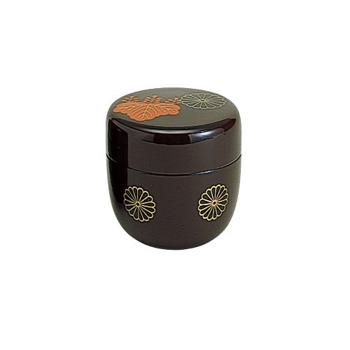 Japanese Crest Designs (Tokyo Matcha Selection - Natsume Tea Caddy : Japanese Family Crests Design 3 Color (Black, Red, Lacquer) [Standard ship by SAL: NO tracking number] (Lacquer))