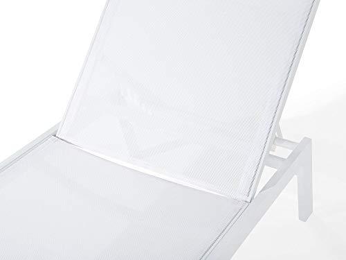 Beliani Gartenliege Aluminium Textilbespannung Weiss Catania II - 6