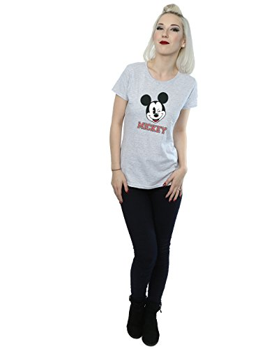 Disney Femme Mickey Mouse Face T-Shirt Heather Gris