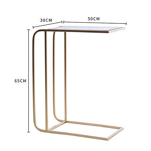 Zhuozi FUFU Tische Beistelltisch, C-Form Snack Tisch Gehärtetem Glas Top Sofa Konsolentisch Akzent Tisch Ende Tisch Möbel für Home Office Drop-Blatt-Tabelle (Farbe : GLOD) -