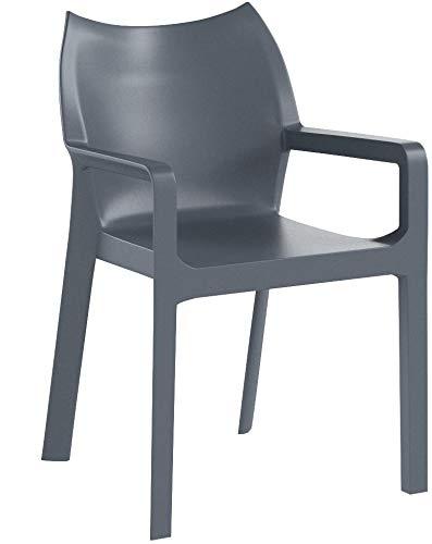 Siesta Kunststoffstuhl/Gartenstuhl/Outdoor Stuhl Floria AL (Dunkelgrau)