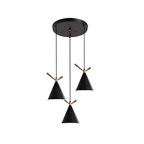 ETH Weiß Schwarz 3 Lampen Einfache Deckenleuchte Runde 3 Farben Warmes Natürliches Licht Aluminium Eisen Kronleuchter Esszimmer Wohnzimmer Restaurant Café LED E27 Bunt (Farbe : Black) -