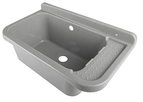 Waschbecken Ausgussbecken 50 cm x 34 cm x 21 cm Spülbecken Waschtrog mit Überlauf Waschbecken für Gewerbe Waschraum Garten inkl. Ablaufgranitur (Kleine Kunststoff-waschbecken)