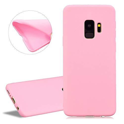 YiCTe Matt Silikon Hülle für Samsung Galaxy S9 Plus,Mode Einfarbig Süßigkeiten Handyhülle Kratzfest Flexibel Ultra Dünn Weich Gummi TPU Schutzhülle für Samsung Galaxy S9 Plus,Rosa -