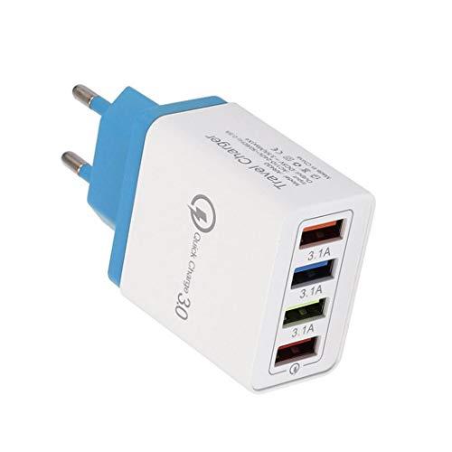 FastDirect 4 Puertos USB Colorido Cargador 3A Cabezal de Carga de Viaje para teléfono móvil iPad Bases de Carga (Azul Cielo)