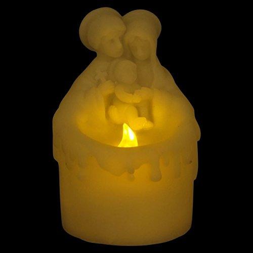 Buri LED-Kerze Maria,Josef & Jesus Weihnachten Deko Motivkerze Religion Flackerlicht