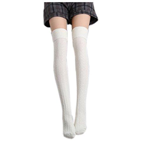 HITOP 1 Paar Damen Overknee Überknie Kniestrümpfe Mädchen Hold-up-Strümpfe Retro Schüler Knitting Sportsocken (Beige) (Kniestrümpfe Mädchen Weiße)
