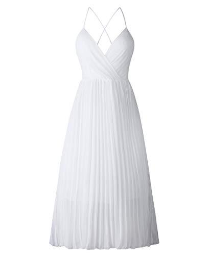 Avondii Damen Ärmellos Chiffon Kleid Elegant V-Ausschnitt Partykleid Schulterfrei Sommerkleid (L, Weiß) - Ärmelloses Chiffon-kleid