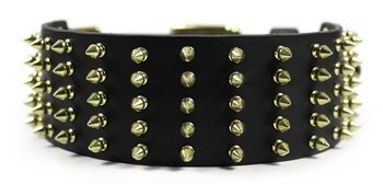 dean-tyler-wide-spike-black-extra-wide-dog-collar-with-brass-spikes-and-buckle-size-34-inch-by-2-3-4