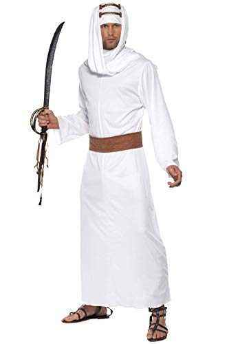 Sultan Das Kostüm - Lawrence von Arabien Kostüm Weiß Gewand Kopfbedeckung und Gürtel, Medium