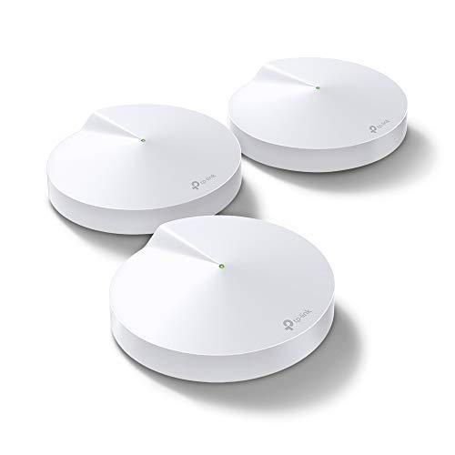 TP-Link Deco M5 Mesh WLAN AC1300 Dualband Heimnetz Komplettlösung (Geschwindigkeit bis zu 1267Mbit/s, Abdeckung bis zu 500m², passt in jeder Art von Zuhause, 2 Gigabit Ports, 3pack) weiß Mesh 3