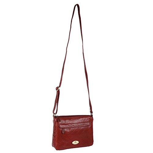 Damen Leder Cross-Body-Tasche Handtasche von Rowallan; RAZZANO Maroon Schulter (Maroon Handtasche Damen)