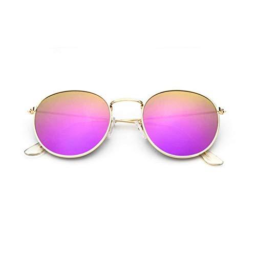 CCGSDJ Kleine Runde Sonnenbrille Frauen Retro Vintage Sonnenbrille Für Männer Metallrahmen Luxusmarke Designer Spiegel Punkte Rosa Brille