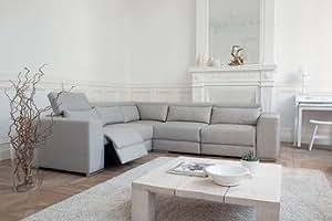 Canapé d'angle de relaxation électrique MINSK, plusieurs coloris disponibles Avec extension de repose-pied - Sans moteur