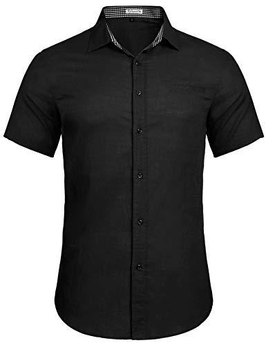 Sykooria Hemden Herren Baumwolle Kurzarm Regular Fit Button Down Reine Farbe Männer Freizeithemd Business Freizeit Schwarz L