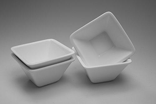 4 x Quadratische Salat-Schüssel / Tapas-Schale Salatschüssel / Tapasschale (10 x 10 x 5,2 cm)