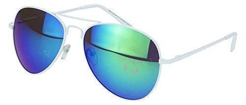 Sense42 verspiegelte Pilotenbrille White Editon, mit weißen Rahmen Grün verspiegeelte Gläser, mit flexiblen Federscharnier Bügel im Brillenbeutel, Fliegerbrille Sonnenbrille Aviator Brille