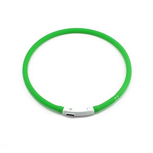MultiWare Leuchthalsband Für Hunde Aufladbar Grün Hundehalsband LED USB Halsband Hunde Leuchtend Sicherheitshalsband für Hund Katzen
