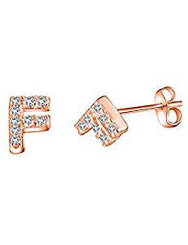 FindOut rosé vergoldet 925 Sterling Silber Mikro Inlay Zirkon 26 Buchstaben A / B / C / D / E / F / G / H / I / J / K / L / M / N / O / P / Q / R / S / T / U / V / W / X / Y / Z. Ohrringe (f1278) (F)