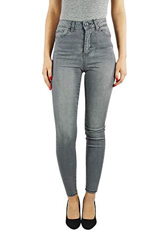 VERO MODA vmsophia Damen Jeans Skinny   Jeanshose Slim fit high-Waist   Frauen Hose Röhre im Used Look   Stretch, Farbe:Grau, Hosengröße:XXL, Schrittlänge:L34 -