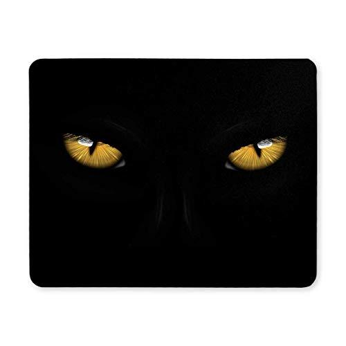 Luancrop Gelbe Augen Schwarzer Panther auf dunklem Hintergrund Halloween-Thema Rechteck rutschfeste Gummi-Mousepad Mauspads/Mauspads Fall Deckung für Office Home Frau Mann Angestellter Chef Arbeit (Augen Halloween Für Dunkle)
