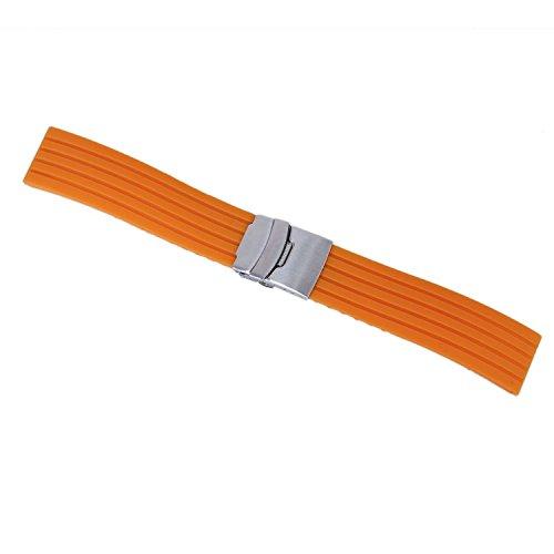 TOOGOO(R) Orange Silikon Kautschuk Armband Band Faltschliesse Wasserdicht 20mm