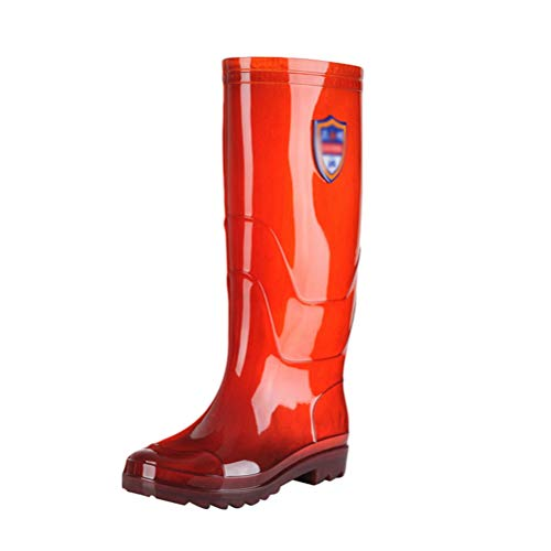 JEELINBORE Mens Flat Festival Wellies Knee Length Wellington Boots Gardening Rain Snow Boots