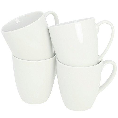 com-four® 4x Kaffeebecher aus Porzellan - Kaffeetasse auch für Tee und Glühwein - Kaffeepott im zeitlosen Design - 300 ml je Tasse