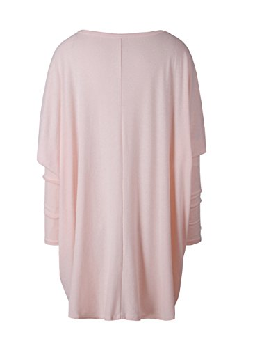 Femme Mini Robe Large Top à Manches Longues T-shirt Pull Tunique Chandail Sweat-shirts Casual Sweaters Rose