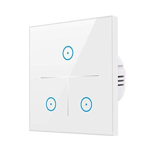 WLAN Alexa Lichtschalter, Smart Lichtschalter für Alexa und Smartphone,gehärtetes Glas Touchscreen-schalter, Timing-Funktion, Überlastungsschutz, kein Hub erforderlich Weiß 3Weg[1/2/3 Weg]