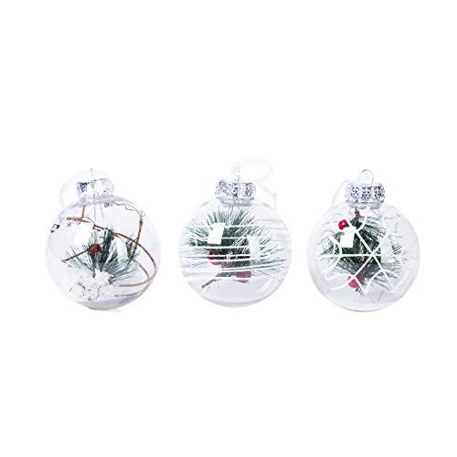 3er-Pack Elegantes Sortiment bedruckte Winterwunderland klare Weihnachtskugel-Ornamente Urlaubsszenen Weihnachten Schnee Nacht Baum Ornamente Stechpalme Mistelzweig Beere Kiefer Nadeln je 8,4 cm (Pullover Kamin Hässliche)